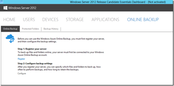 8-7 ábra: Online backup felület az essentials server kezelőpaneljén