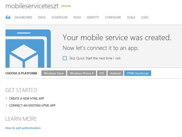HTML Mobile Service létrehozása
