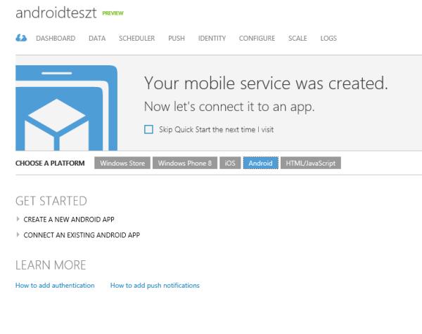 Új Android Mobile Service létrehozása