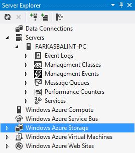 1. ábra: A Server Explorer ablak a Visual Studióban